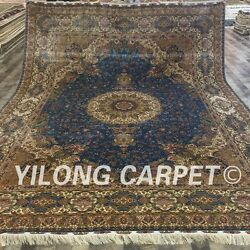 Yilong 9'x12' Large Hand-knotted Carpet Quality Great  Handmade Silk Rugs 004A