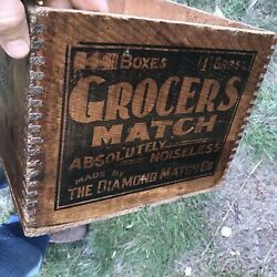 Rare Antique Grocers Diamond Matches Wooden Shipping Crate Box Railroad N.h.
