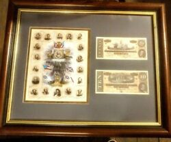 1864 Confederate 20 And 10 Paper Monies And Images Of Confederate Heroes