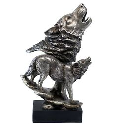 Silver/pewter Tone Wolf Wolves Howling Figurine 15 High Resin Statue New