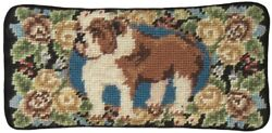 EYEGLASS CASE BULLDOG DOG 3.5X7 FLORAL WOOL YARNS HAND EMBROIDERED PETIT P