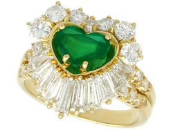 Vintage 1.63 Ct Emerald and 2.31 Ct Diamond 18k Yellow Gold Dress Ring