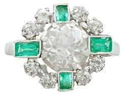 Vintage French 1950s 2.06ct Diamond and Emerald 18k White Gold Dress Ring