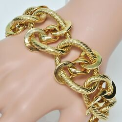 14k Yellow Gold ITALY HEAVY 57 Gram Chain Link Wide Look STATEMENT Bracelet 10