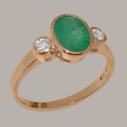 Solid 14ct Rose Gold Natural Emerald And Diamond Womens Trilogy Ring- Sizes J To Z