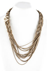 Chanel Gold Womens Braided Chain CC Embellished Necklace Gold Toned
