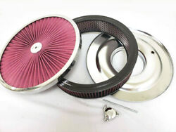 14 X 3 Flow Through Air Cleaner Kit W/ Washable Filter Flat Base And Deluxe Nut
