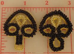 Black With Gold Beaded Bullion Frog Applique Closure Toggle Clasp 1-5/8 India
