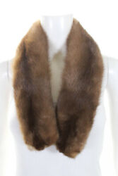 Designer Womens Hook Front Mink Fur Skinny Scarf Brown