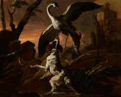ABRAHAM HONDIUS  Three dogs attacking a crane in a landscape 17th Century