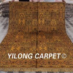 Yilong 6and039x9and039 Four Seasons Golden Carpet Hand Knotted Classic Silk Area Rug G15c