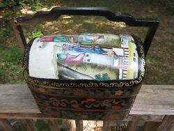 Antique Vintage Chinese Porcelain And Wood Box Fruit Jewelry Sewing Trinket Box