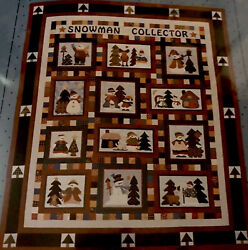 """SNOWMAN COLLECTOR Christmas Quilt Kit 80""""x94"""" Pattern Fabric + Border Back"""
