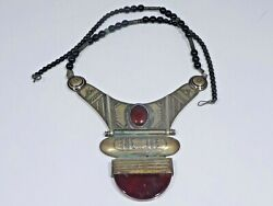 VINTAGE ETHNIC TRIBAL SILVER ALLOY ONYX AND CARNELIAN NECKLACE