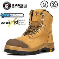 ROCKROOSTER Safety Work Boots Mens Steel Toe Cap Slip Resistant Lace up Shoes $55.99