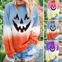 Womens Long Sleeve Sweatshirt Colorblock Halloween T Shirt Pullover Tops Blouse
