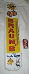 Antique Usa Town Talk Bread Country Bakery Advertising Sign Braun's Thermometer