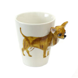 Lovely Unique 3d Coffee Milk Ceramic Mug Cup With Chihuahua Cup Case Best Gift