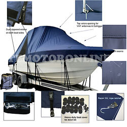 Dusky 217 Open Fisherman Center Console Fishing T-top Hard-top Boat Cover Navy