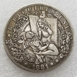 Hobo Nickel Dollar Sexy Woman Grabs Artist From Painting US Art Casted Coin $11.54