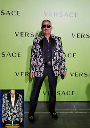 New Versace Brocade Tailor Made Blazer Jacket W/ Crystal Buttons 54 - 44