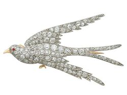 Antique 3.34 Ct Diamond Ruby & 18k Gold Swallow Brooch