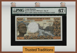 Tt Pk 4b 1974 Congo Republic 5000 Francs Pmg 67 Epq Superb Rare Note None Finer
