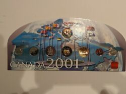 2001 Canada Royal Canadian Mint Coin Set. 8 Piece Set. Built In Display Stand