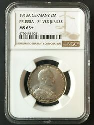 1913-a Silver 2 Mark Ngc Ms65+ German Empire Prussia 25 Years Gem Bu Unc Luster