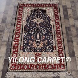 Yilong 3and039x5and039 Flower Design Handmade Carpet Great Hand Knotted Silk Area Rug 341b