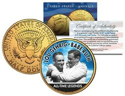 LOU GEHRIG amp; BABE RUTH Yankees Legends JFK Half Dollar 24K Gold Plated US Coin
