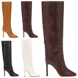Women Western-pattern Square Toe High Heel Knee High Thigh Gothic Boots Occident