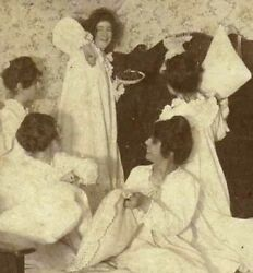 Norman Rockwell Aura Nightgown Girls Pillow Fight Antique Photo 1890s Americana