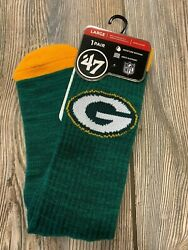 Nwt Adult Green Bay Packers '47 Brand Green/gold Premium Quality Socks Sz Large