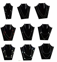 black Onyx & Mix gemstone 925 silver plated talva Chain Necklace 80pcs BV-298