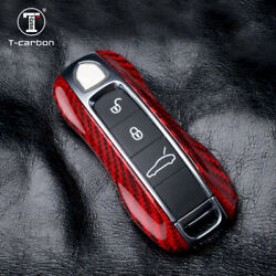 Red Carbon Fiber Key Fob Shell Case Cover For Porsche Cayenne Panamera 2017-2018