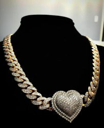 Heart Pendant Attached With 925 Sterling Silver 18 Long Cuban Link Menand039s Chain