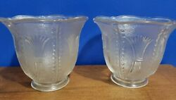 2 Vintage Pearl Design Clear Pressed Glass Gas Light Lamp Shade 2 Fitter Ar