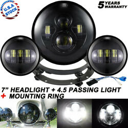 7 80w Led Headlight + Passing Lamp + Bracket For Harley Electra Glide Classic