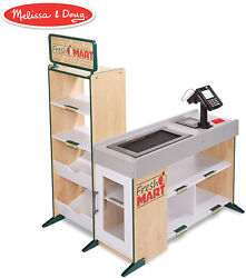 Melissa And Doug Freestanding Wooden Fresh Mart Grocery Store Wooden Grocery St