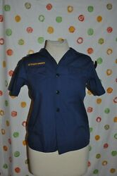 Official Boy Scout Cub Blue Youth Medium Shirt With Patches Euc