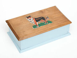 A Vintage Wooden Games Box With Peg Holders And English Collie Dog Print