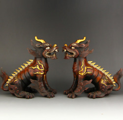 9.24 A Pair Old Chinese Antique Red Copper Gilt 24k Goldandsilver Unicorn Statue