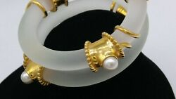 Inna Cytrine Vintage Design Frosted Lucite And Pearl Coil Bracelet