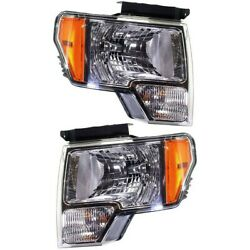 Headlight For 2009-2014 Ford F-150 Driver And Passenger Side Pair