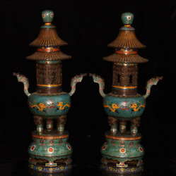 23.62 A Pair Old Chinese Antique Red Copper Cloisonne Dragon Tower Furnace