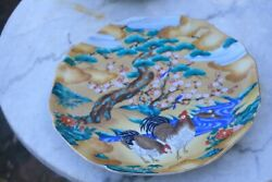2 Platters By Takahashi, San Francisco, Chickens With Jade Tree, And Large Flora