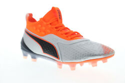 Puma One 1 FG AG 10472201 Mens Silver Gray Low Top Athletic Soccer Cleats Shoes