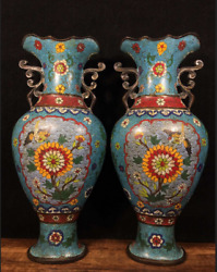 14.37 A Pair Old Chinese Antique Qing Dynasty Red Copper Cloisonne Flower Vase