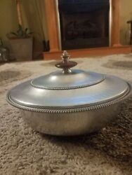 Vintage Bw Buenilum Hammered Aluminum Bowl With Lid And Insert Serving Piece